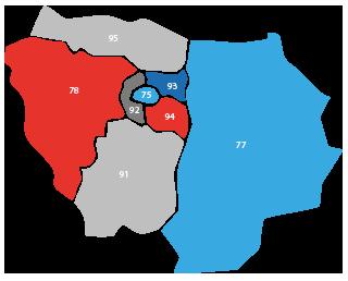 Carte des fédérations de la Ligue IdF